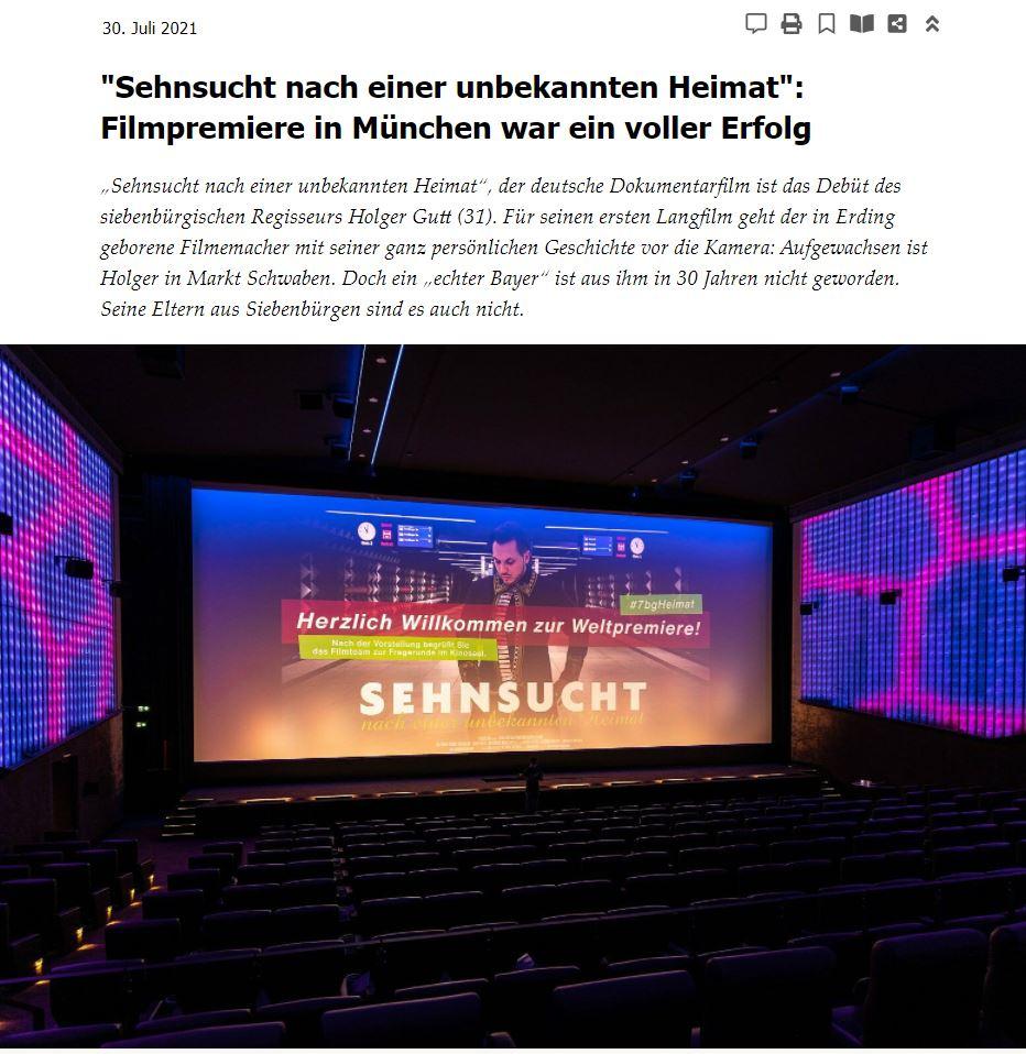 """Screenshot der Seite Siebenbürger.de vom 30. Juli 2021 - Bericht zur Weltpremiere von """"Sehnsucht nach einer unbekannten Heimat"""""""